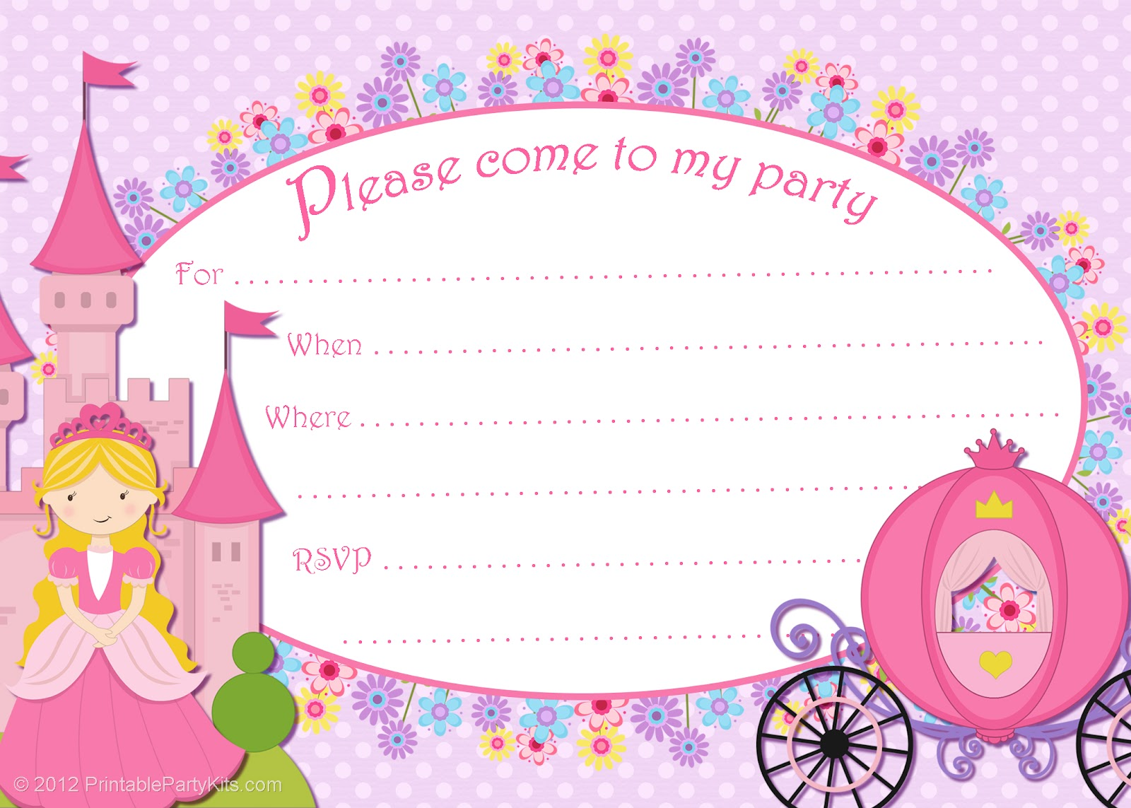 princess birthday invitation card template ; Superb-Princess-Party-Invitations