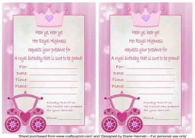 princess birthday invitation card template ; cup158886_874