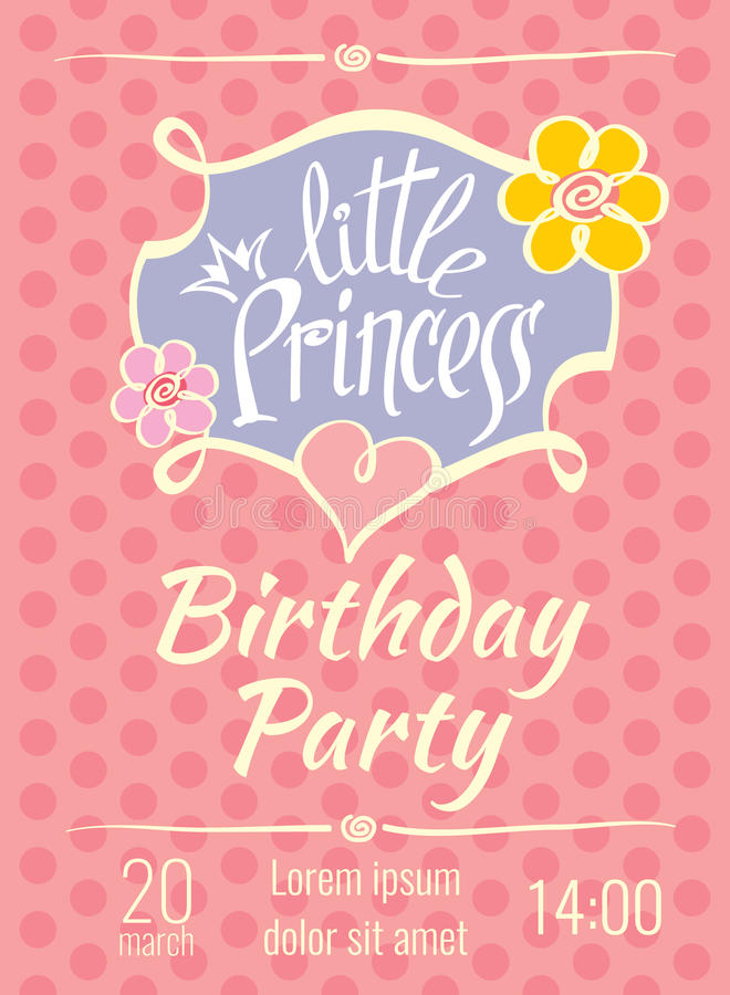 princess birthday invitation card template ; little-princess-birthday-party-vector-poster-invitation-card-template-postcard-68813459