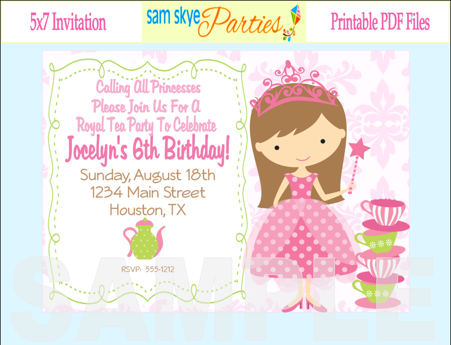 princess birthday invitation card template ; princess-tea2