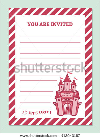 princess birthday invitation card template ; stock-vector-princess-birthday-party-invitation-card-template-with-stripped-border-and-castle-clip-art-412043167
