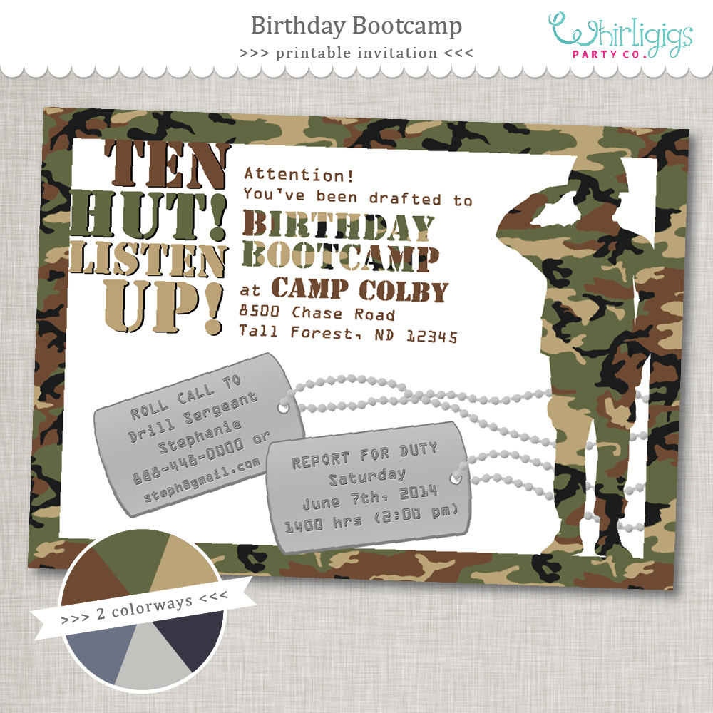 printable army birthday party invitations ; bootcamp-birthday-army-party-invitation-printable-digital-on-army-birthday-awesome-goody-bags-for-an-th