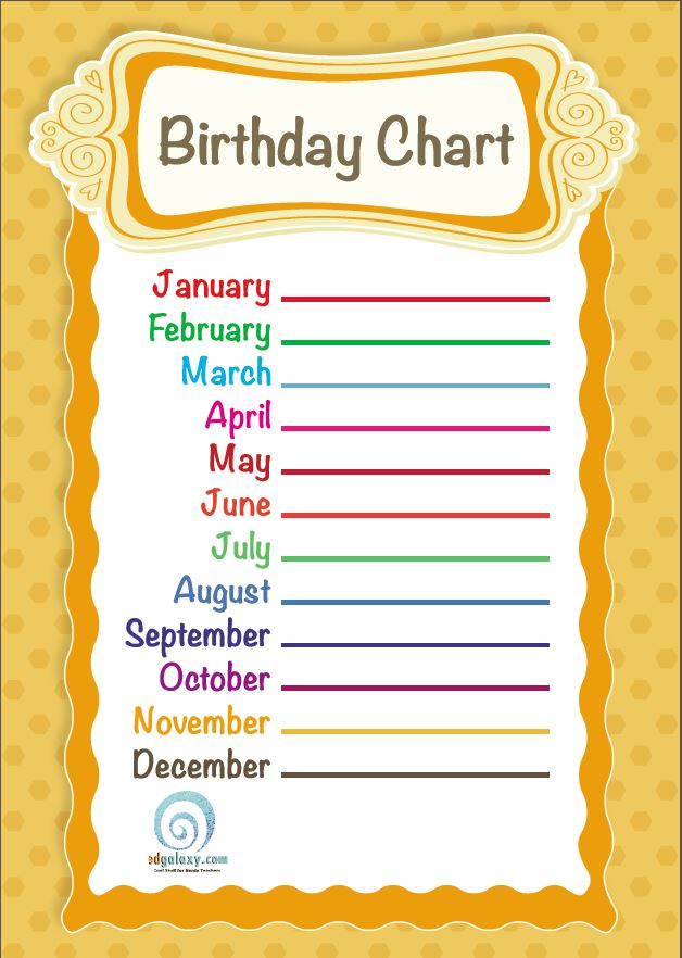 printable birthday chart for teachers ; Birthday+Chart