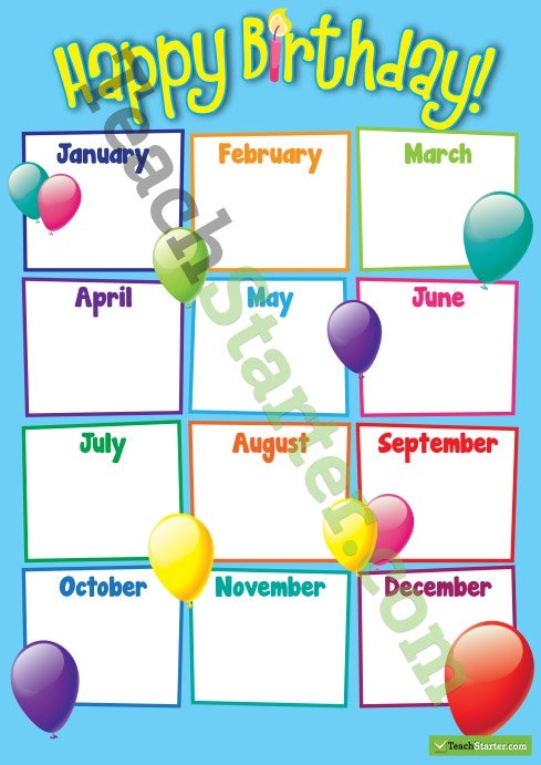 printable birthday chart for teachers ; Teachingresource_BirthdayBalloonChartBoxes
