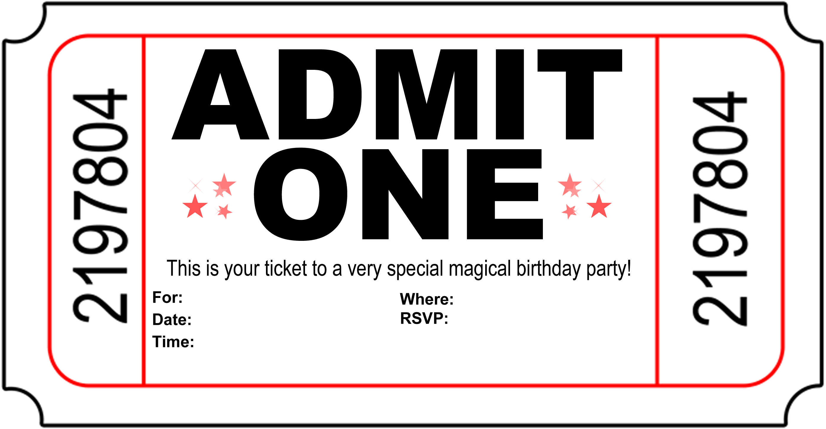 printable birthday invitation paper ; printable-magic-show-ticket-invitation