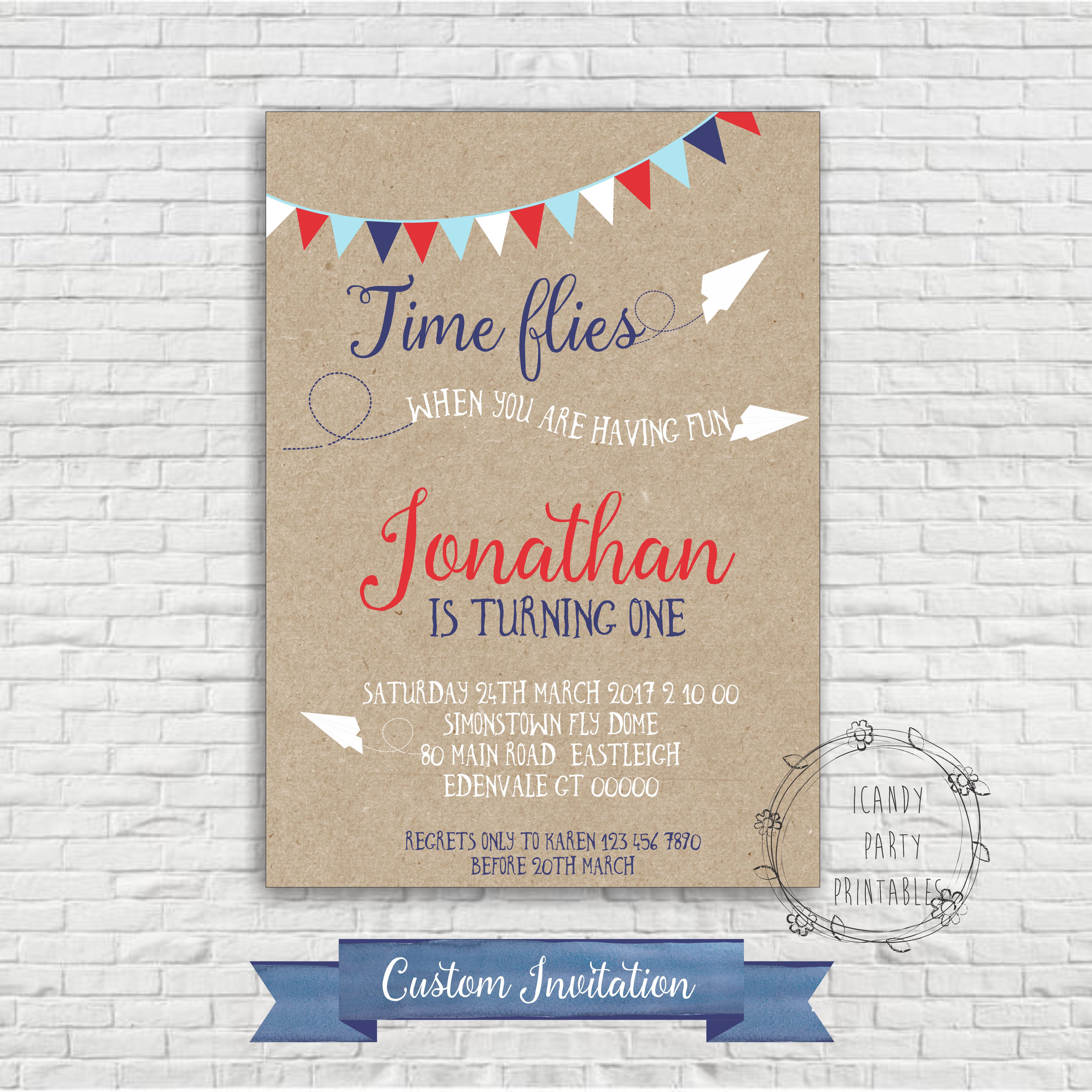 printable birthday invitation paper ; time-flies-flags