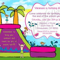 printable water slide birthday party invitations ; b5eacfe605dddacf07c1cf5b0aac4335--water-party-invitations-summer-kids