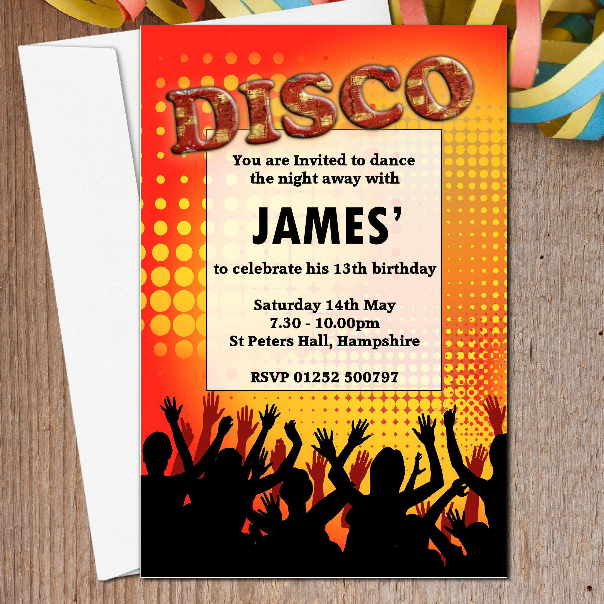 printed birthday party invitations ; 10-personalised-disco-birthday-party-invitations-n3-835-p