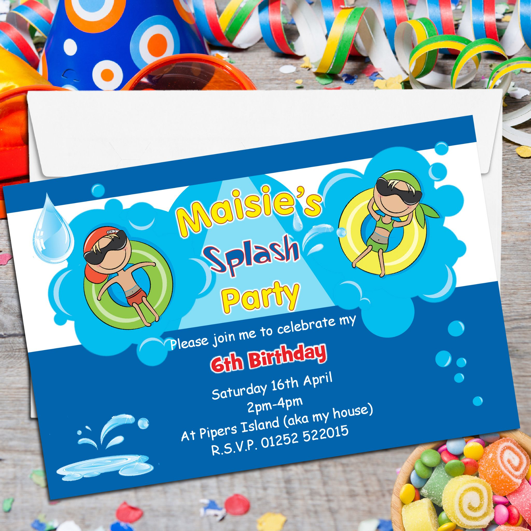 printed birthday party invitations ; 10-personalised-swimming-pool-birthday-party-invitations-n116-5522-p