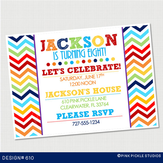 printed birthday party invitations ; 610