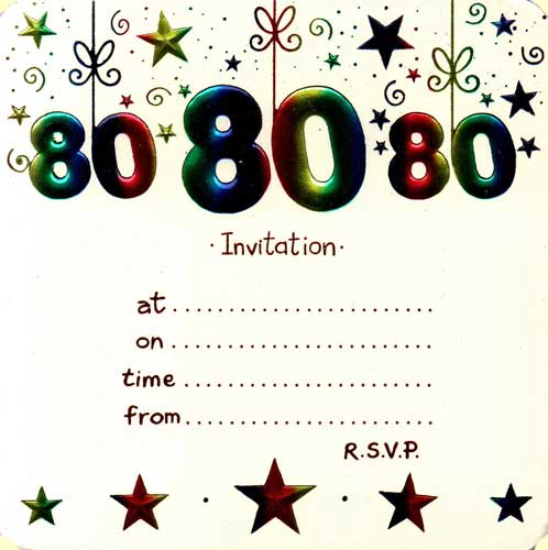 printed birthday party invitations ; 80th-foil-party-invitation