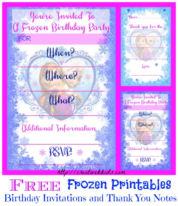 printed birthday party invitations ; Frozen-collage