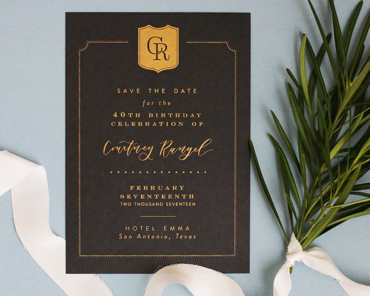 printed birthday party invitations ; Traditional-Black-and-Gold-Screen-Printed-Birthday-Party-Invitations-Goldie-Design-Co-OSBP-4