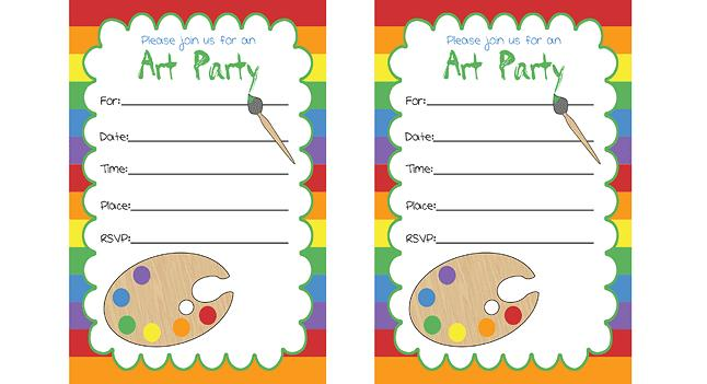 printed birthday party invitations ; art-party-invitations-small