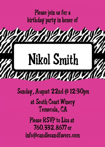 printed birthday party invitations ; zebra_print_pink_birthday_invitation