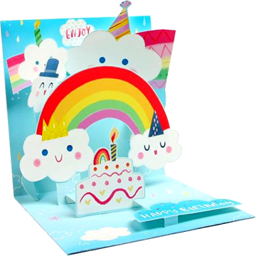 rainbow birthday card ; ps1188_happy_clouds_and_rainbows