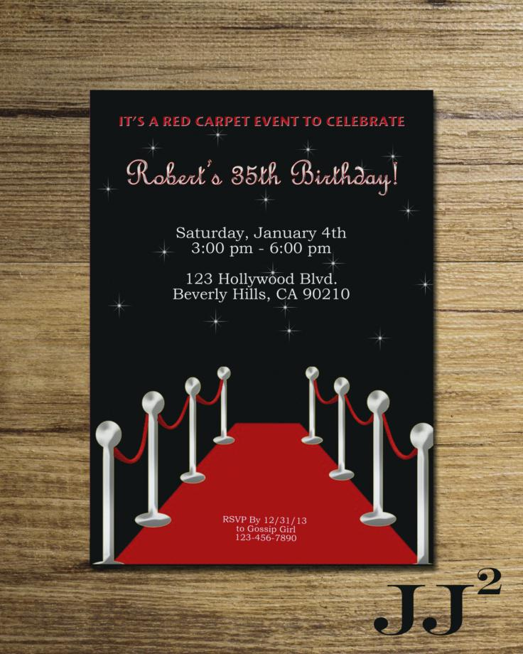 Red Carpet Birthday Invitation Wording Hollywood Theme Party Invitations Beautiful
