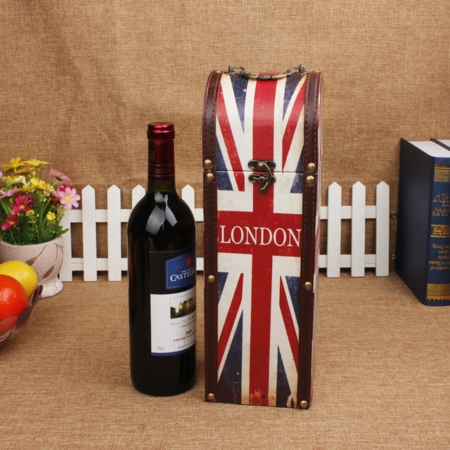 red wine for birthday gift ; Antique-Red-wine-box-Vintage-Leather-London-flag-exquisite-gift-wooden-box-Portable-Storage-Box-Bin