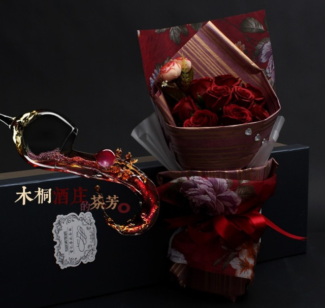 red wine for birthday gift ; Happy-Birthday-gift-of-high-quality-red-wine-gift-soap-flower-rose-soap-flower-Artificial-flower