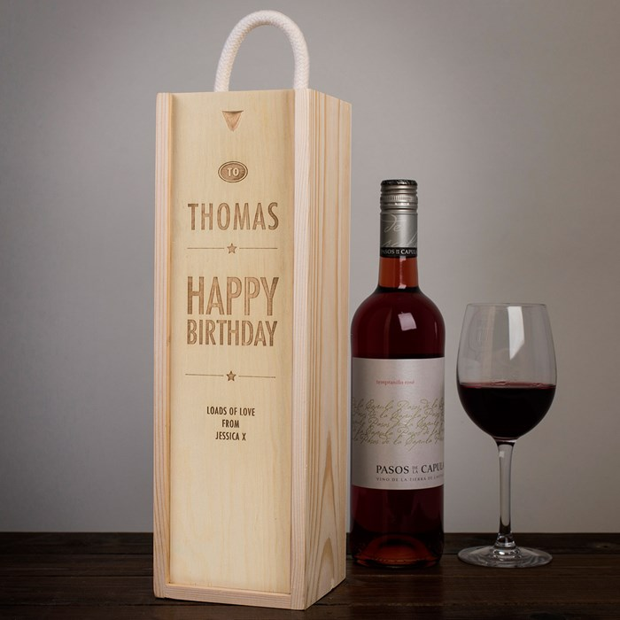 red wine for birthday gift ; red-wine-birthday-gift-personalised-wooden-wine-box--happy-birthday--stars-a