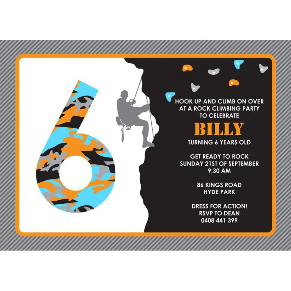 rock climbing birthday party invitations printable ; 29f4391e1b0289d0681b7e944a1ccb09