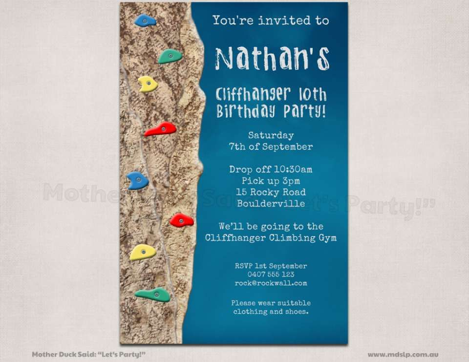 rock climbing birthday party invitations printable ; fbdde439948e577212e3729cb231ae50