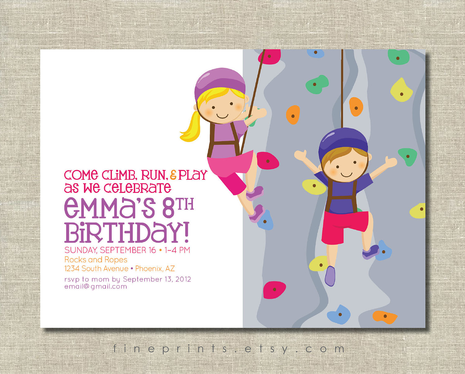 rock climbing birthday party invitations printable ; rock-climbing1