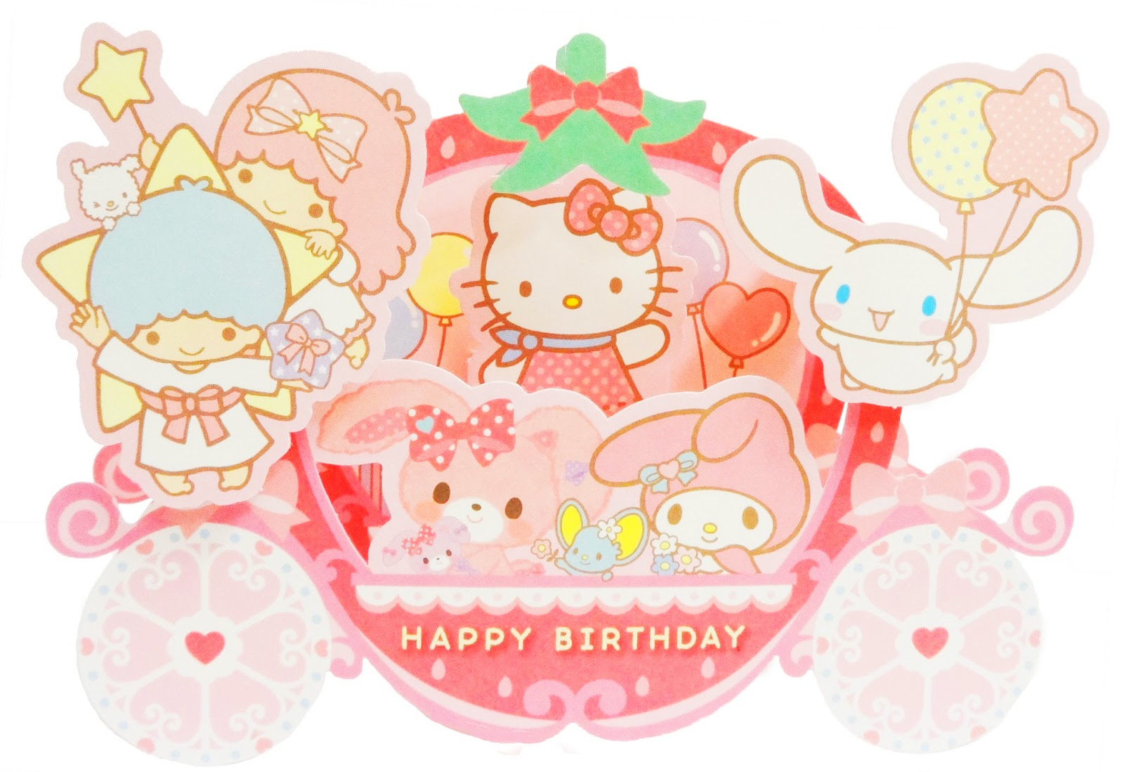 sanrio birthday card ; kitty+carriage