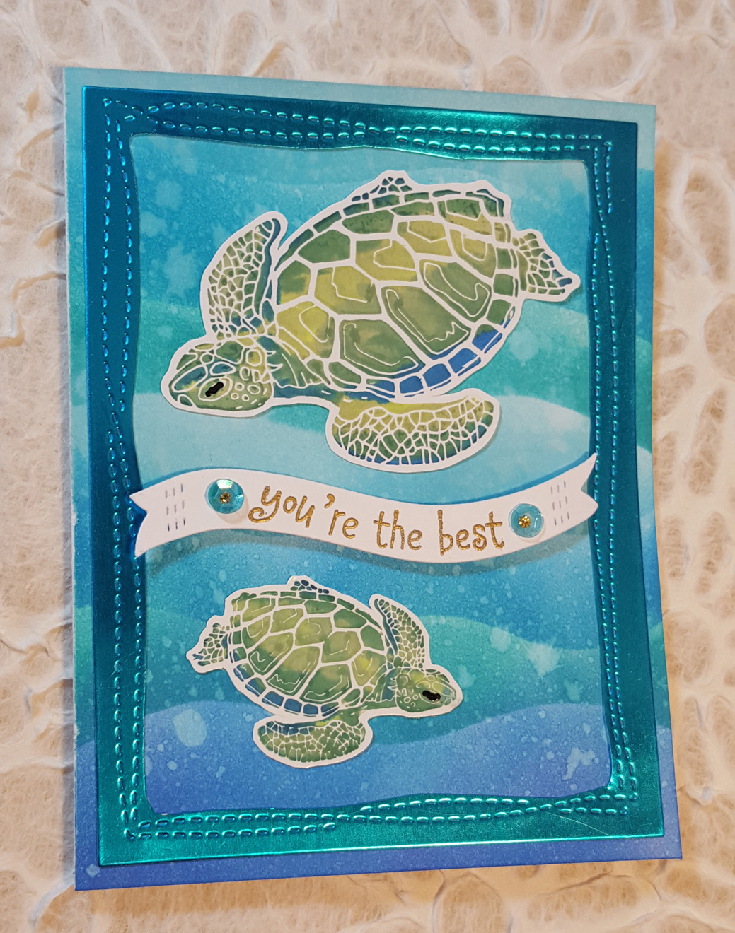 sea birthday card ; SeaTurtleCardFront2