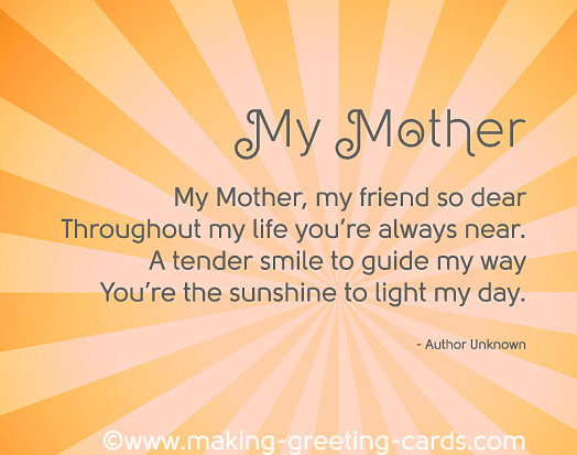 short poem for mom on her birthday ; mothers-day-poems