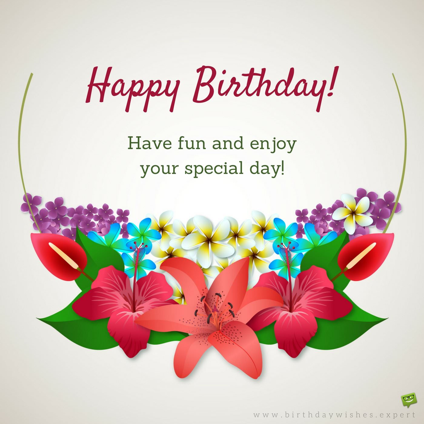 simple happy birthday wishes ; Birthday-wish-on-background-with-tropical-summer-flowers