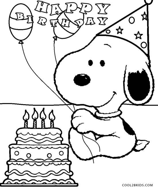 snoopy birthday coloring pages ; 44eb832faff9a8e19849fd53a3b7d695