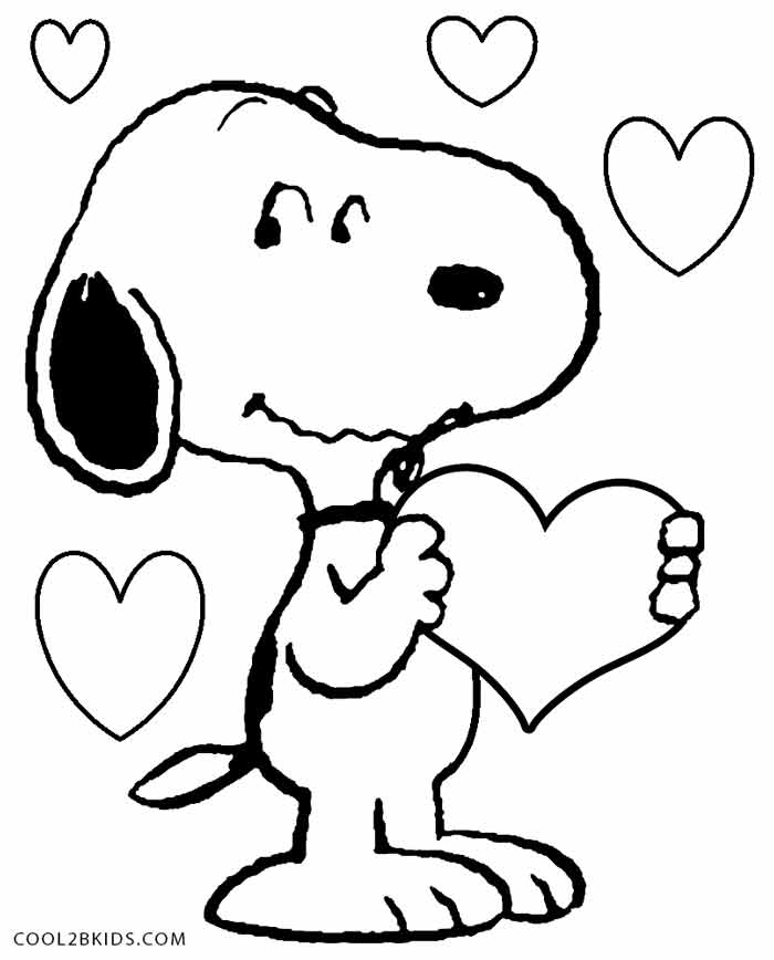 snoopy birthday coloring pages ; Snoopy-Valentines-Coloring-Pages