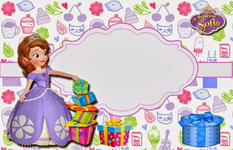 sofia the first birthday background ; free-printable-invitation-034