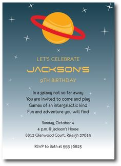 space birthday party invitation wording ; 26a981a1e2001a3d04f8715227f12eed--space-party-birthday-party-invitations