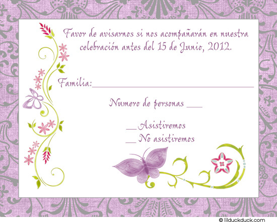 spanish birthday invitation cards ; chic-butterfly-reply-card-spanish-front-lavender-silver