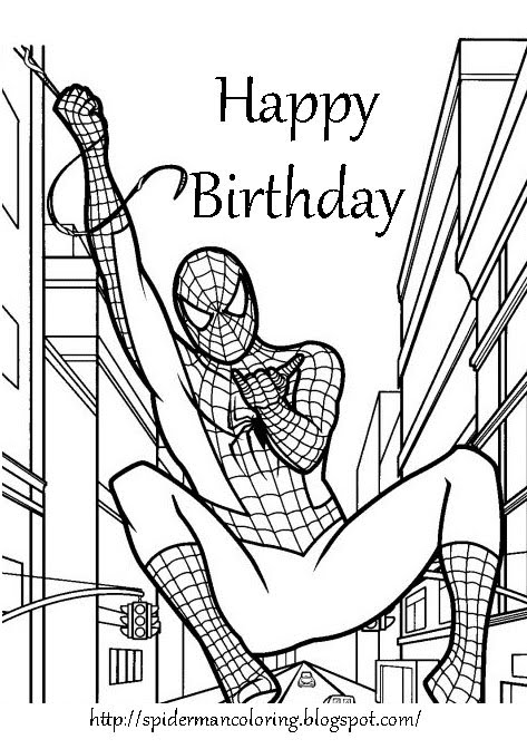 spiderman birthday coloring pages ; e09a416834f33e5f23619acb7460e862