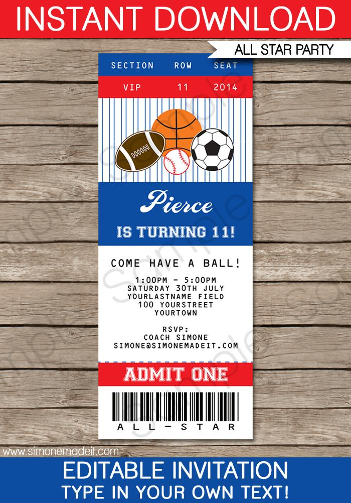 sports birthday party invitation template ; All-Star-Ticket-Invitation4