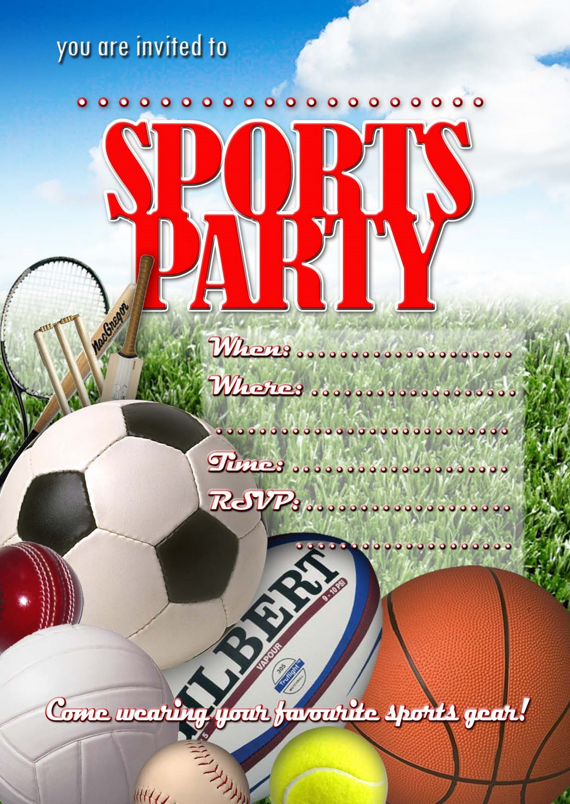 sports birthday party invitation template ; Sports-Party-Invitation-Inspirational-Sports-Party-Invitations