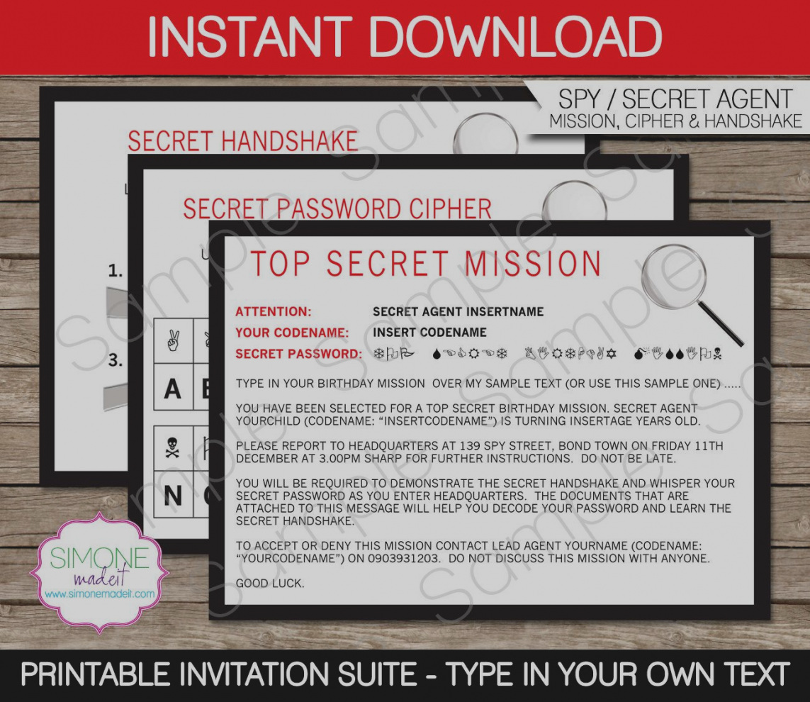 spy birthday party invitation template free ; awesome-of-secret-agent-birthday-invitations-spy-invitation-template-party