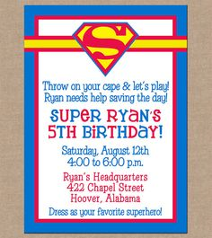 superman birthday invitation template ; 48ba74550f2ac5b9f9c4b3102e2c4f4c--superhero-kids-superhero-party