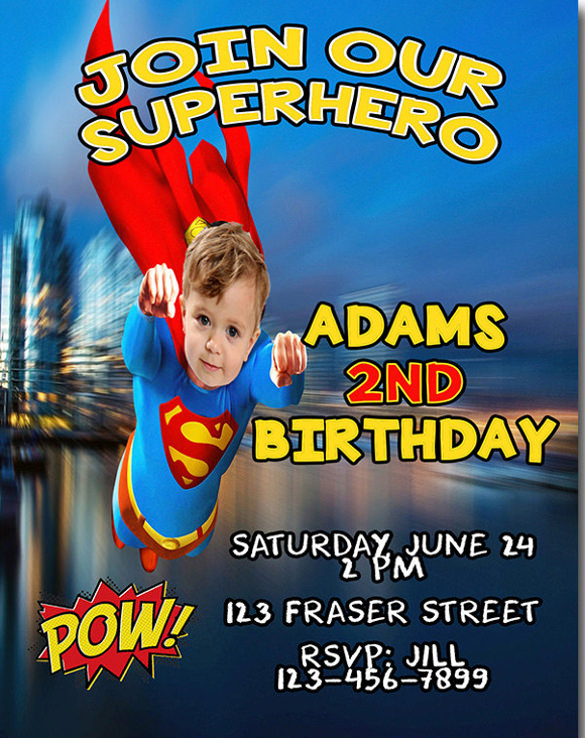 superman birthday invitation template ; Boys-Birthday-Invitation-Super-Hero-Invite