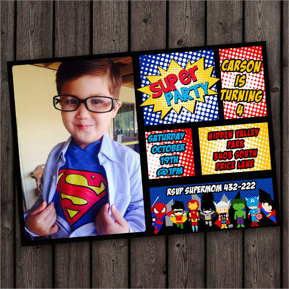 superman birthday invitation template ; Creative-superhero-birthday-invitation-with-Custom-Photograph