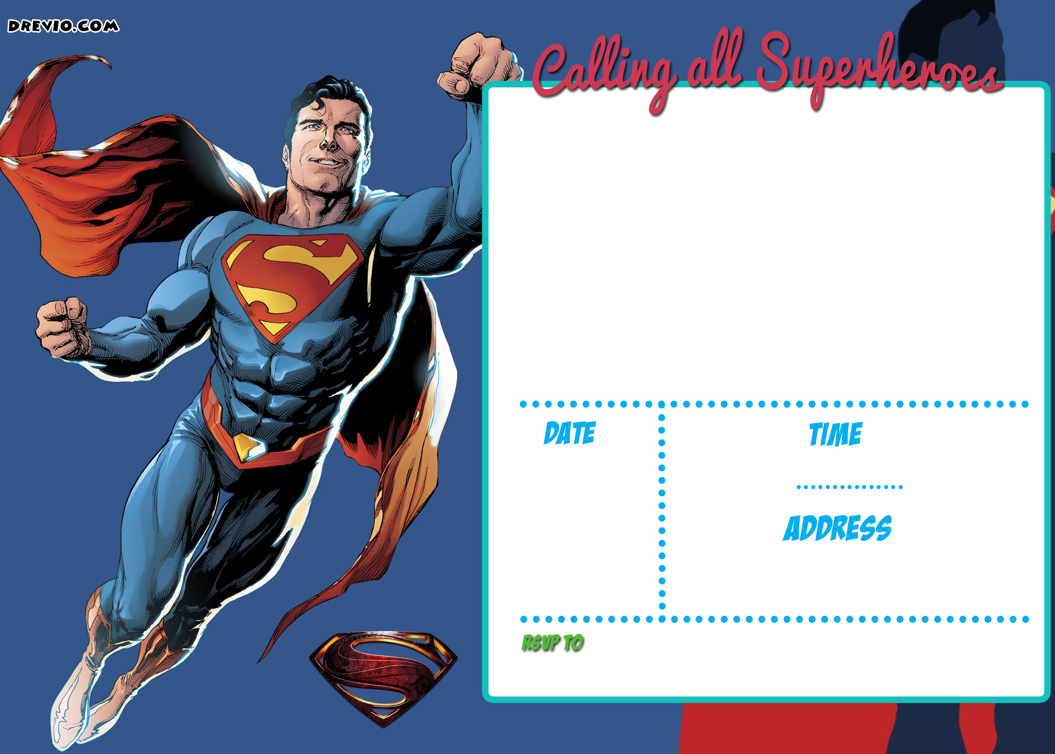 superman birthday invitation template ; FREE-Printable-Justice-League-Invitation-Template-Superman-Invitation