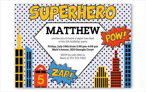 superman birthday invitation template ; White-dotted-Super-hero-birthday-invitation-Template-