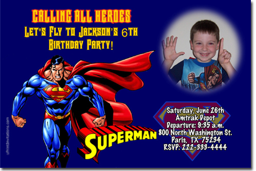 superman birthday invitation template ; superman