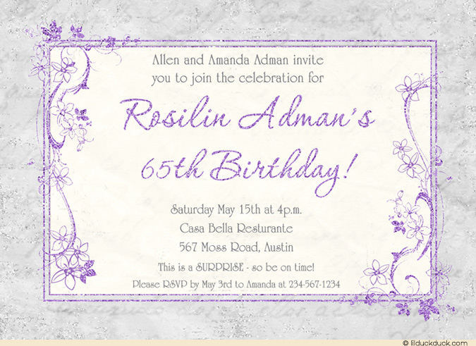 surprise 65th birthday invitation