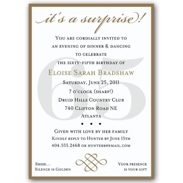 surprise 65th birthday invitation wording ; aa542bf025bd273dc20e8eeb107772a6