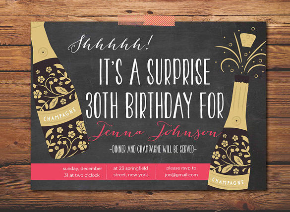 surprise birthday card template ; Best-Surprise-Party-Invitation-Template