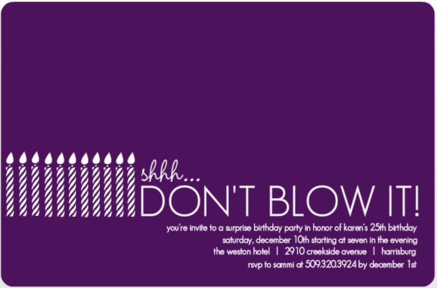 surprise birthday card template ; White-Candles-Surprise-Birthday-Invitation